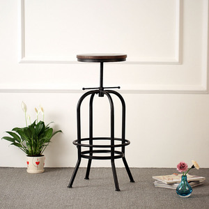 iKayaa FR Stock Swivel Bar Stools Industrial Furniture Taburete Pinewood Top Kitchen Dining Chair tabouret de comptoir
