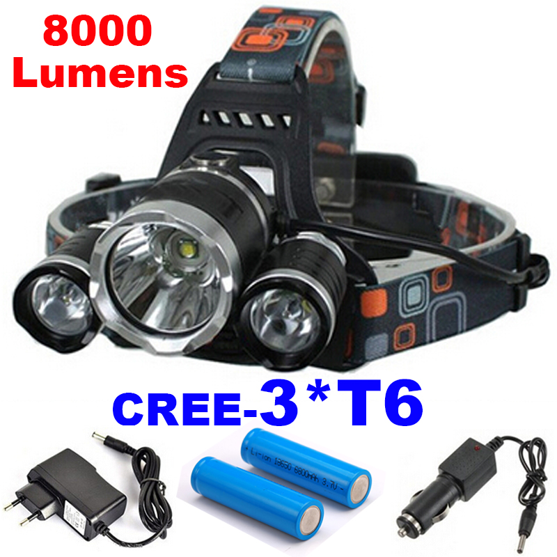 LED Headlight 3*T6 8000LM CREE XM-L T6 LED Headlamp Head Bike Lamp Outdoor Lights + 2* 18650 Battery + Charger + Car Charger yp 3006 500lm 3 mode white headlamp w cree xm l t6 black silver 1 2 x 18650