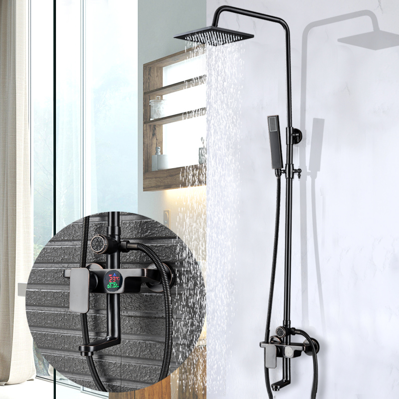Digital Display Shower Mixer Faucet Set Single Handle Rotate Spout Bath Shower System Rainfall 8 inch shower head with Hand Show black bronze rainfall shower mixer faucet temperature display bath shower set single handle with handshower 360 rotate tub spout