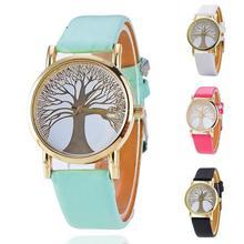 1 pc Trendy Árvore da Vida árvore de Relógios Das senhoras das Mulheres Casuais Feminino Relogio Relógios de Quartzo relógios pulseira de couro de presente de aniversário H4
