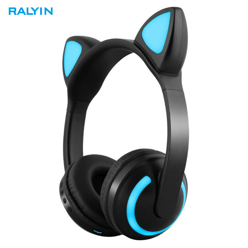 Ralyin Over The Ear Wireless Bluetooth Headphones with Built in Micphone 12 Hour Battery colorful lights