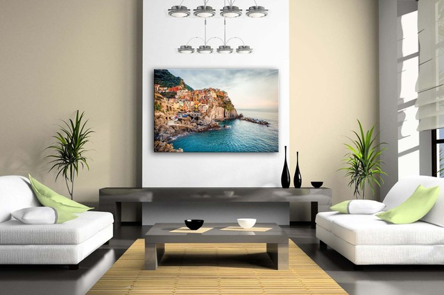 Framed Sea City Patterned Wall Canvas Print
