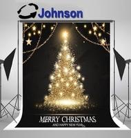 wall background Vinyl cloth High quality Computer print Christmas Tree Gold Shining Fir Snowflakes Stars photo backdrop