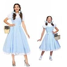 映画ウィザード Oz ドロシー衣装少女と女性のためのドロシーコスプレファンシードレスハロウィン王女の衣装パーティードレス