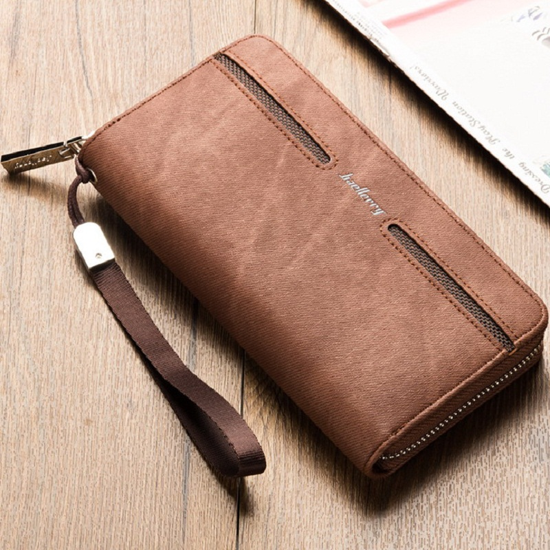 Newest style mens long high quality PU leather zipper Retro, antique wallets purse clutc ...