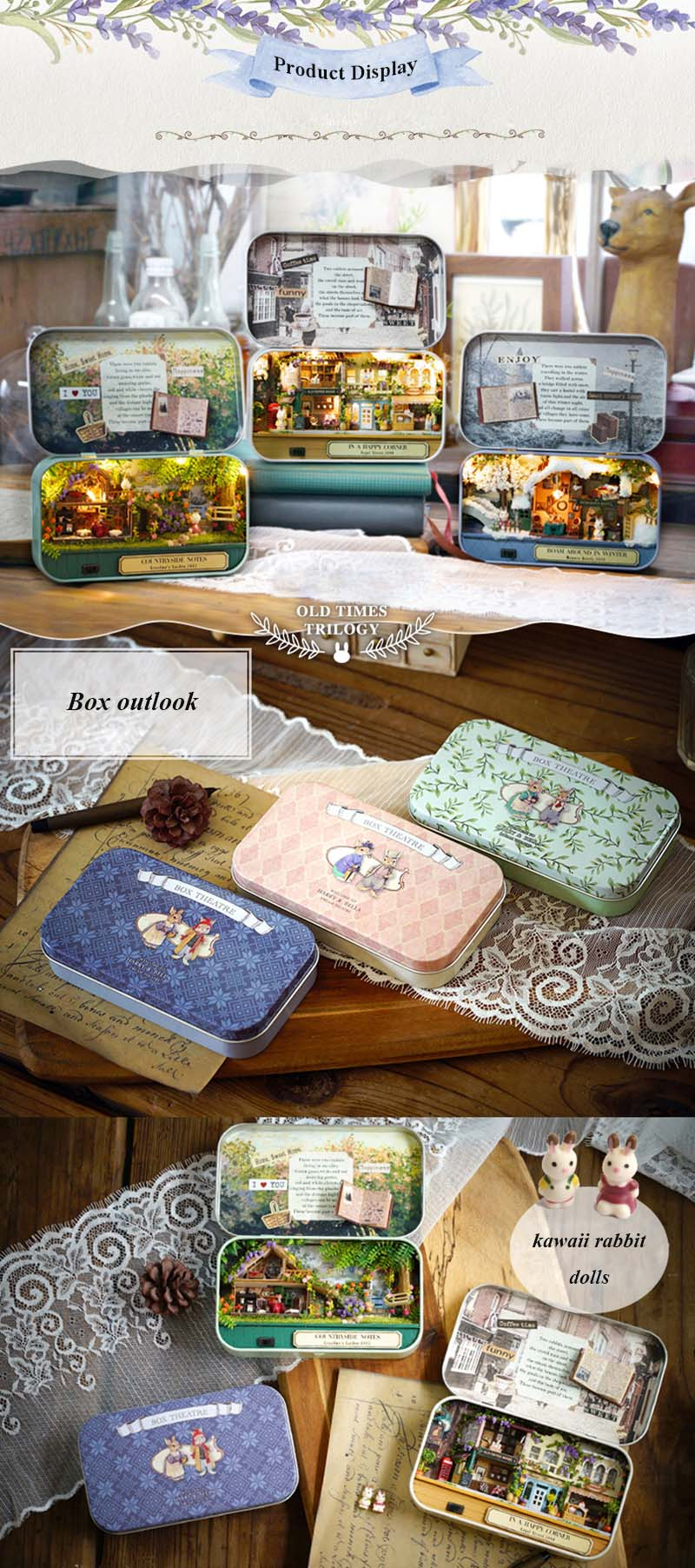 In A Happy Corner 3D Wooden DIY Handmade Box Theatre Dollhouse Miniature Box Cute Mini Doll House Assemble Kits Gift Toys (3)