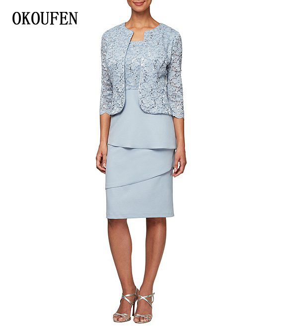 Mother Of The Bride/Groom Dresses For Wedding 2019 Sequined Lace Jacket Tiered Short Navy Blue Kurti Vestido De Madrinha Farsali
