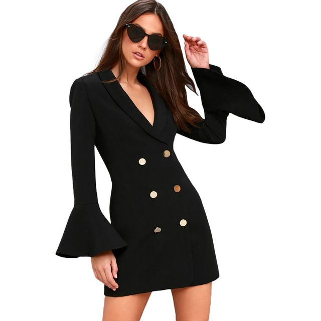 17d48b90b5be0 Black flare sleeve shawl collar mini shift dresses women ladies OL formal  white double breasted slim