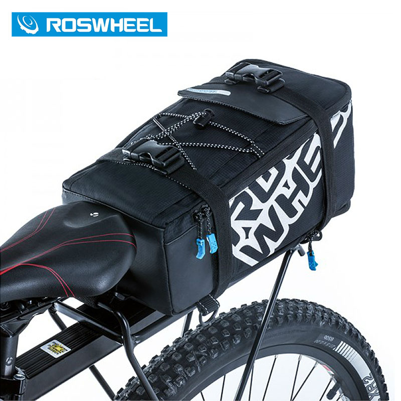 ROSWHEEL 5L Bicycle Carrier Bag Rack Trunk Bike Luggage Back Seat Pannier Outdoor Cycling Storage Handbag Shoulder Strip 141276