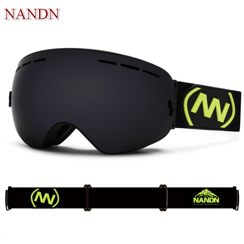 NANDN Professional Ski Goggles Replaceable Lenses UV400 Anti fog Skiing Eyewear Ski Mask Skiing Men Women Snow Snowboard Goggles-in Skiing Eyewear from Sports & Entertainment    3