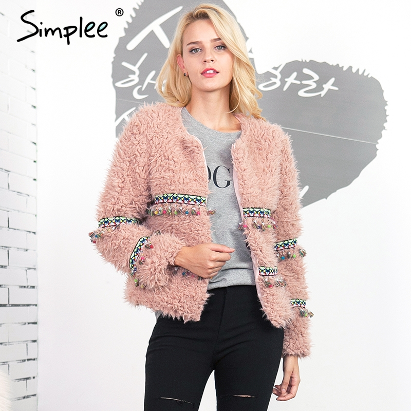 Simplee Bead Flower Lambswool Faux Fur Coat Women Vintage -6716