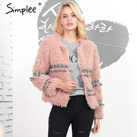 Simplee Bead Flower Lambswool Faux Fur Coat Women Vintage Natural Fur Winter Coat Hairy Overcoat Chic