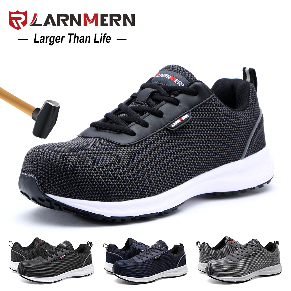 Men's Boots Larnmern Mens Steel Toe Work Safety Shoes Lightweight Breathable Anti-smashing Non-slip Reflective Casual Sneaker Men's Shoes