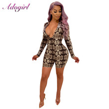 Adogirl Sexy Snake skin Print Bodycon Playsuit Women Summer V Neck Long Sleeve Slim Night Club Romper Overalls Outfits