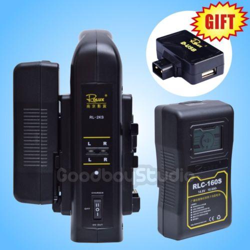 2 PZ Rolux RLC-160S 160WH S0ny LCD Li-Ion + 2KS V-mount Caricatore Doppio Kit
