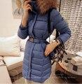 2014 inverno moda feminina 90% para baixo casaco fino médio longa com capuz casaco Natural Artificial grande Fur engrosse Outwear com cinto