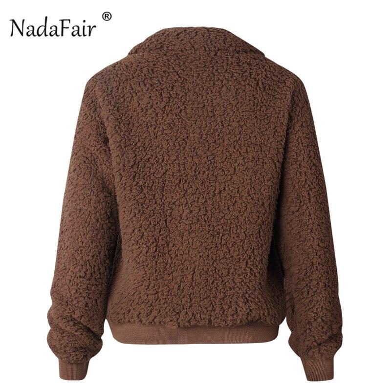 Nadafair Faux Fur Coat Women Autumn Winter Fluffy Teddy Jacket Coat Plus Size Long Sleeve Outerwear Turn Down Short Coat Female 15