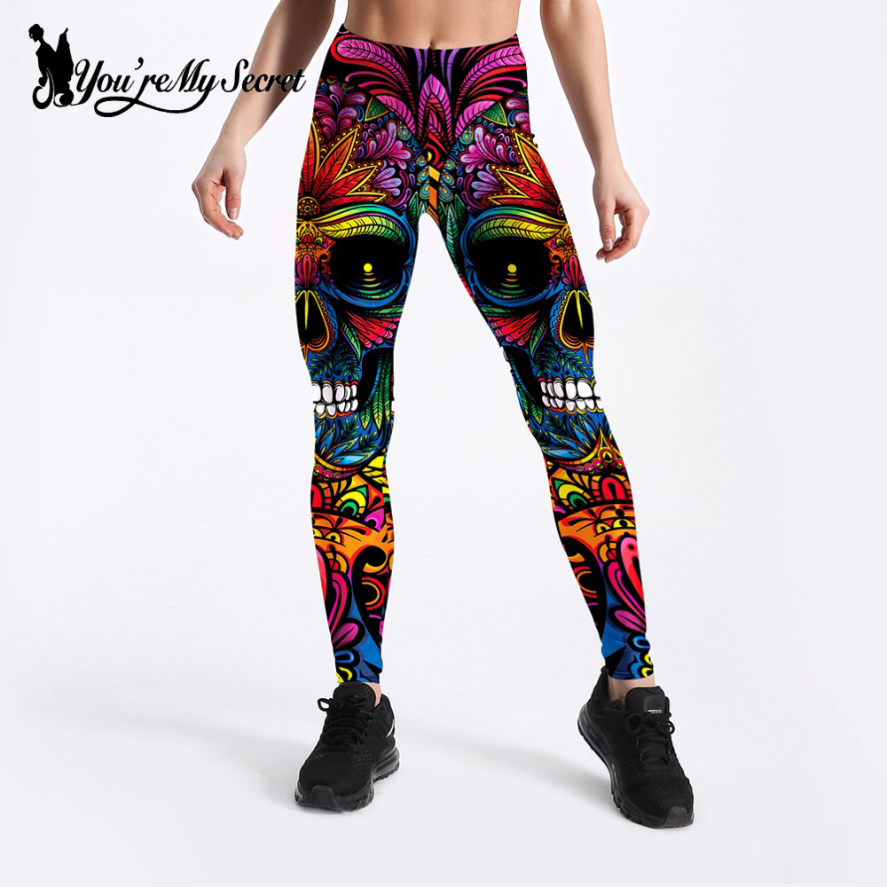 [You're My Secret] 2019 Halloween New Fashion Rose Skull High Waist Fitnesss Women Legging High Quality Fitness Push Up Leggins