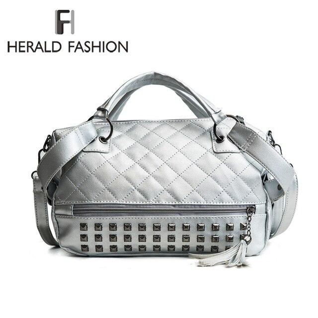 36ccdda110b7 Herald Fashion Quality Rivet Women Bag Leather Handbag With Tassel Large Female  Shoulder Bag Daily Vintage Casual Crossbody Bag