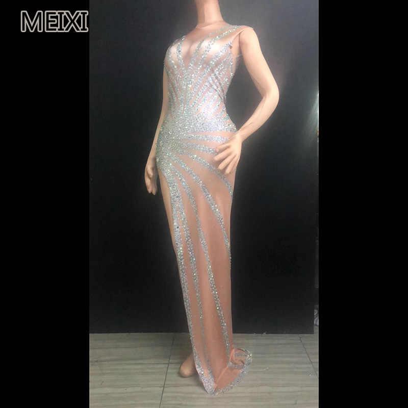 Sexy look slim silver rhinestone evening dress bar party concert singer dancer  costume 678f01abeeba