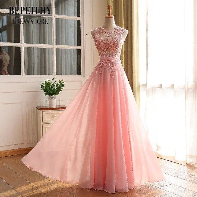BEPEITHY Elegant A line Prom Dress Sexy Open Back Vestido De Festa Vintage Evening Dress Long Party Dress 2017 New Design