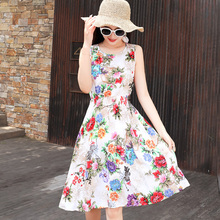 High Quality Beach dress Women Summer Dress 2019 Cotton Sleeveless vestidos print elegant