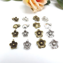 Jewelry finding & components parts Tibetan silver metal accessories Flowers flying ring bronze alloy bracelet materials #JZ123(China)