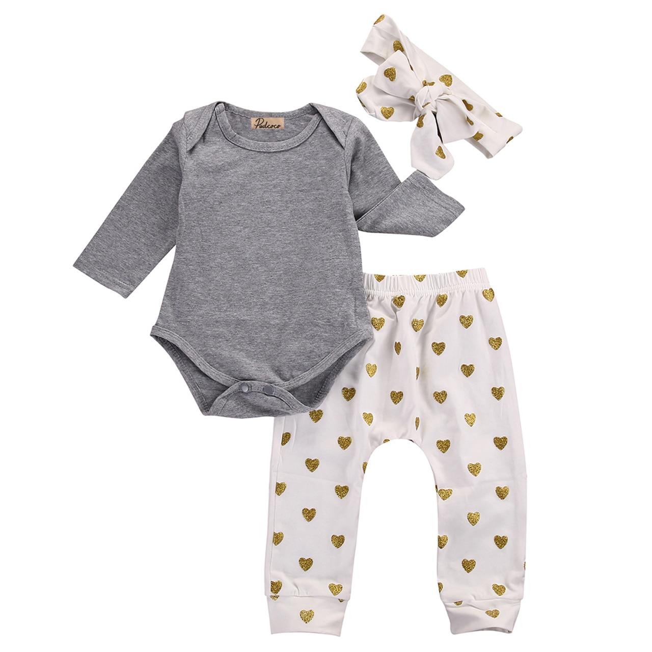 Одежда для новорожденных девочек хлопковый комбинезон с длинными рукавами, топ + золотые штаны с сердечками, повязка на голову комплект одежды для малышей от 0 до 24 месяцев