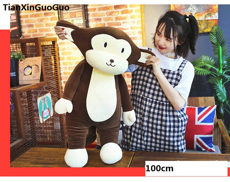 large 100cm cartoon brown monkey plush toy creative pillow down cotton soft throw pillow birthday gift s0642 2543 carrot shaped pp cotton plush throw pillow orange 40cm length