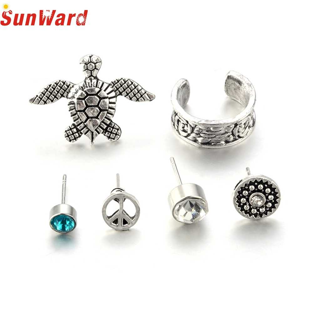 NWE FASHION Bohemia Women Retro Silver Ear Clip Stud Earrings Set Fashion JewelryJAN3  P30
