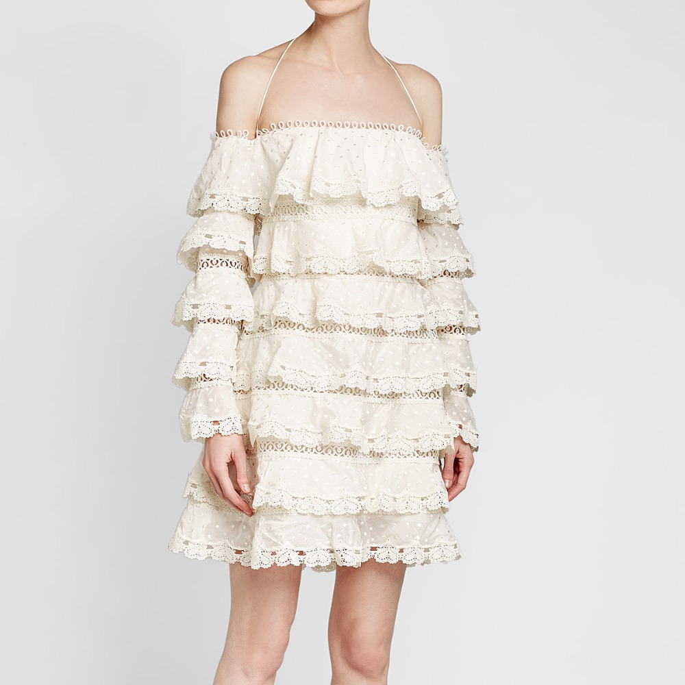 Women Lace Tiered Mini Dress Cream Nude Silk Blend Broderie Anglaise Dress Tiered Lace and Cotton Silk-blend Gauze Dress gothic lace up tiered women s long dress