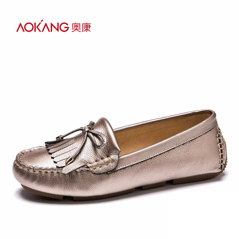 AOKANG 2017 New Arrival Women Flats shoes Brand Women shoes Women Genuine Leather shoes many colors free shipping aokang 2017 new arrival women flat genuine leather shoes red pink white women shoes breathable and soft free shipping