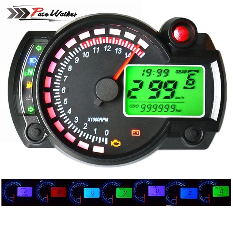 FREE SHIPPING 2016-2017 15000rpm modern RX2N similar LCD digital Motorcycle odometer speedometer adjustable MAX 299KM/H meter