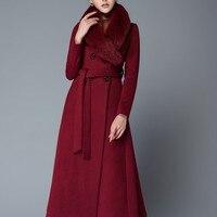 Лиса меховой воротник женские Шерстяное пальто супер длинные женские куртки поясом Британский Одежда высшего качества ПР пальто пыли зимн