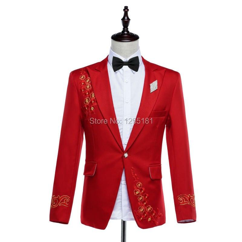 Mode hommes broderie rouge costumes d'affaires costumes ensemble grande taille S-4XL discothèque vêtements fleur motif Slim Blazer pantalon