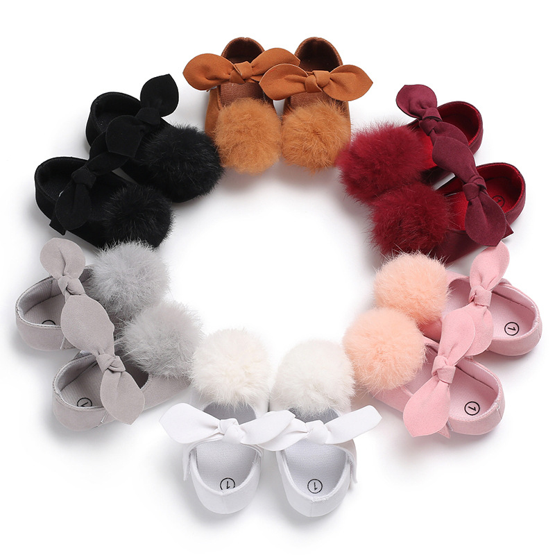 New Cute ball girls bow Crib Brand baby Toddler First walkers Baby Moccasins soft bottom Pu leather Baby Shoes 0-18 Months
