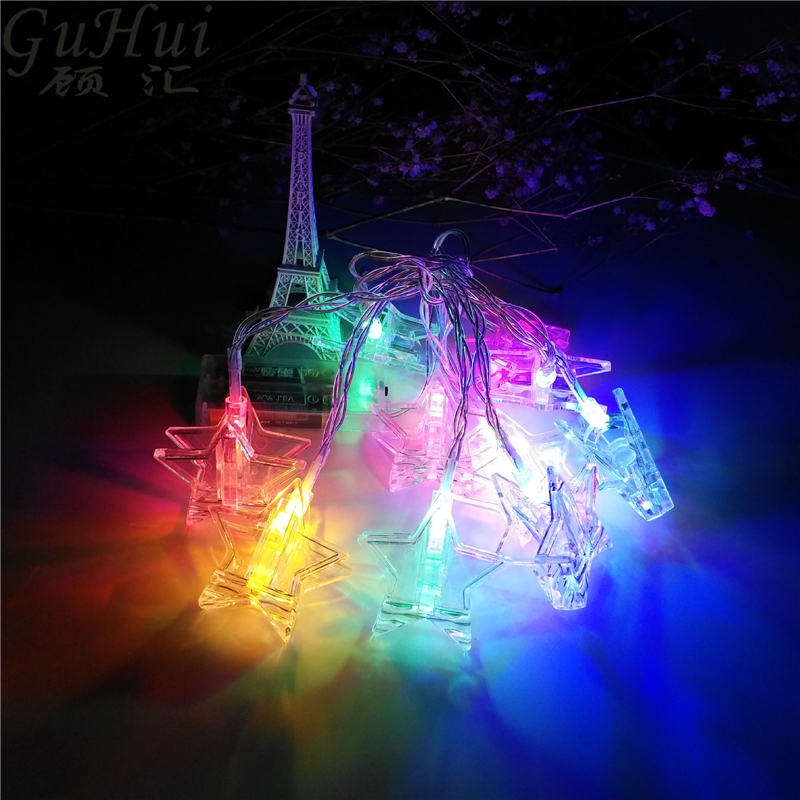3M 20Led Multicolour Five-pointed Star Clip Light String Battery Xmas Party Wedding Marriage Room Curtain Photo Wall Clip Decor