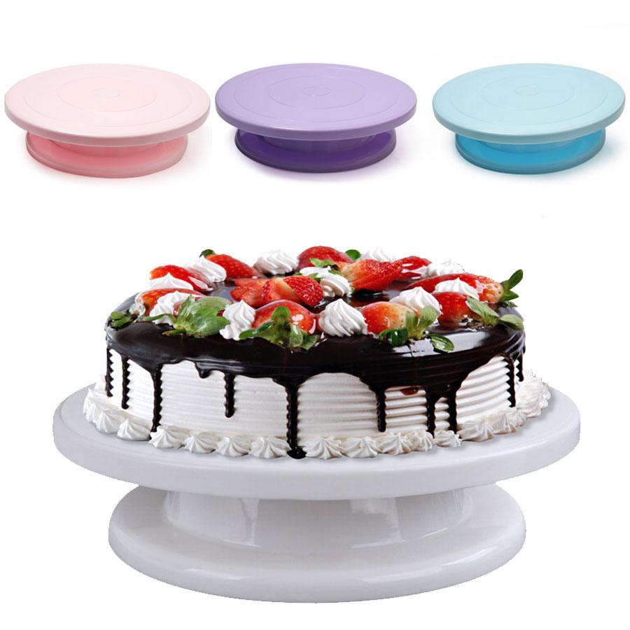 Colorful Flower Turntable Plastic Decorating Wheel DIY Cake Cream Round Rotating Cake Swivel Christmas Wedding Cake Stand Tool