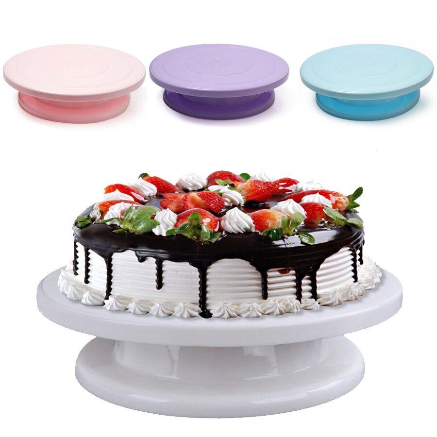 Flores de colores giratoria de plástico decoración de DIY pastel crema ronda giratorio pastel giratoria de soporte de la torta de boda herramienta