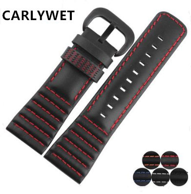 CARLYWET 28mm Real Calf Leather Handmade Black White Orange Red Blue Stitches Wrist Watch Band Strap Belt Clasp For Seven Friday цена и фото