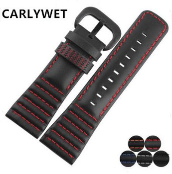 CARLYWET 28mm Real Calf Leather Handmade Black White Orange Red Blue Stitches Wrist Watch Band Strap Belt Clasp For Seven Friday men silicone rubber wrist watch strap band waterproof with deployment clasp red orange blue coffee