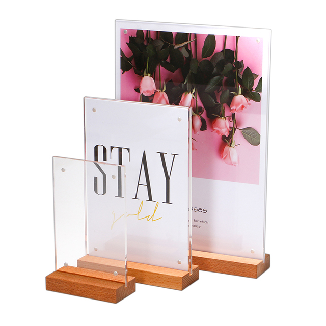 A6/a5/a4 Oak Wood Acrylic Desk Sign Menu Card Holder Price Tag Display Strong Magnetic Poster Frame For Restaurant Advertising