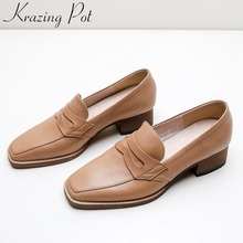 Brand Pumps Loafers Heels Square Toe Comfortable Plus-Size Slip-On L88 Handmade Classic