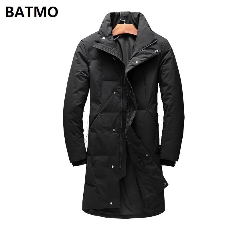 BATMO 2018 new winter high quality 90% white duck   down   long jackets men,men's Long parkas, warm trench   coat   plus-size 2065