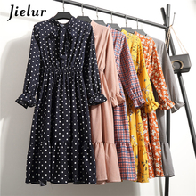 Jielur 2019 New Spring Chiffon Dress Women 25 Styles Plaid Dot Floral Loose Lace-up Robe Femme Kpop Fashion Ladies Dresses S-XL