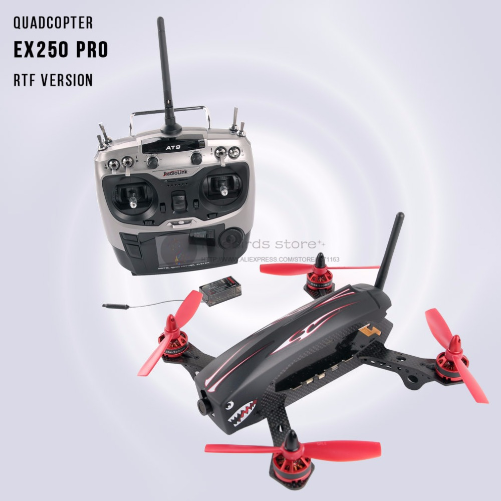 2.4G RC mini drone FPV racing quadcopter pure carbon fiber with camera 9 channels remote control AT9 QAV250
