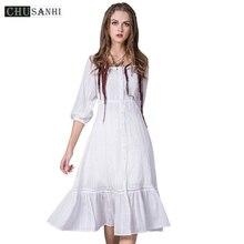 White gatsby designer dresses runway 2017 high quality women fashion Ruffles Robe Vintage Cotton Summer casual dress uzun elbise