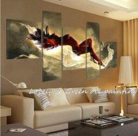 יופי 5 שינה בשלל צבעים יפים ריקוד אמנות המודרני דקורטיבי תיק תקציר בד ציור ביד ציורי שמן
