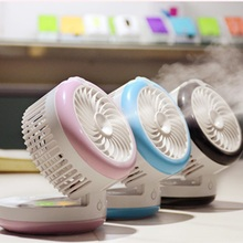 Water Mist Fan Rechargeable Misting Humidifier Fans 3colors Spraying Powerful Fan Office Desktop Mobile Power Ventilador