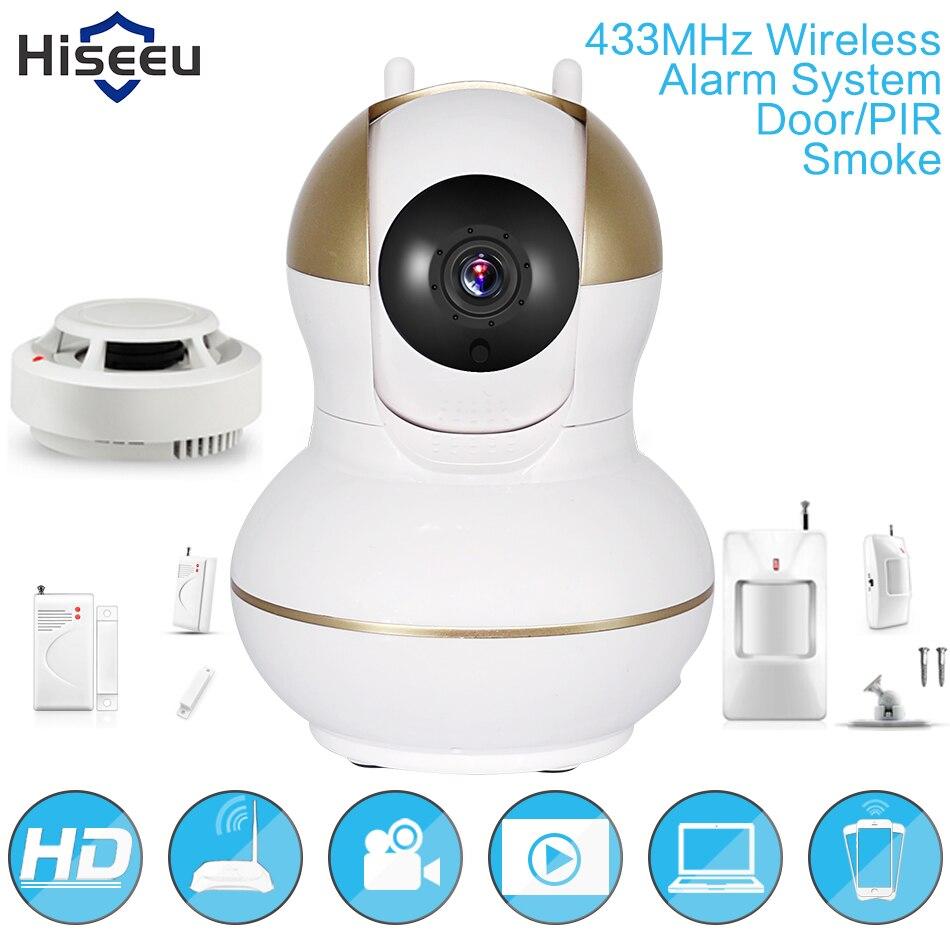 hd 433mhz infrared door pir smoke sensor 720p wireless ip camera alarm system fh6 k us216. Black Bedroom Furniture Sets. Home Design Ideas